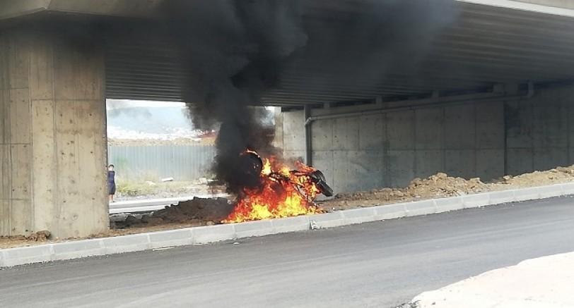 Arızalanan Motorsikleti Ateşe Verdi