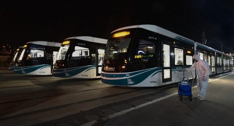 Otobüs ve Tramvaylar Dezenfekte Edildi.