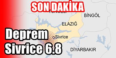 Son Dakika Sivrice Merkezli 6.8 Büyüklüğünde Deprem