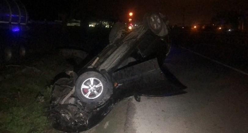 Yılbaşı Gecesi Alkollü Sürücü Aracıyla  Takla Attı 1 Ölü 2 Yaralı